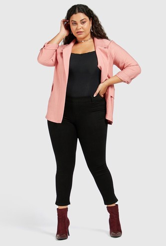 Solid Mid Waist Cropped Jeggings with Elasticised Waistband