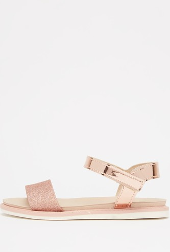 Embellished Sandals with Hook and Loop Closure