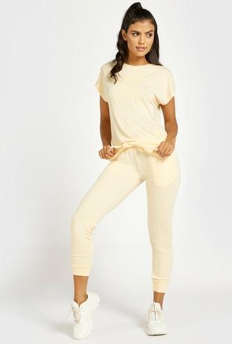 Solid Jog Pants with Drawstring Closure and Pockets