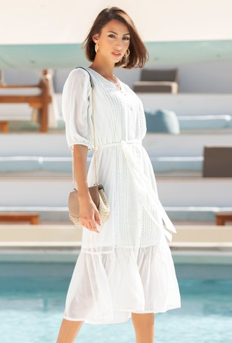 Solid Midi Tiered Dress with Lace Detail and Tie-Up Belt