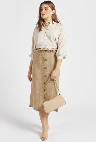 Textured Midi Skirt with Paperbag Waist and Button Detail