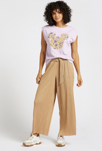 Textured Palazzo Pants with Elasticised Waistband and Belt Detail