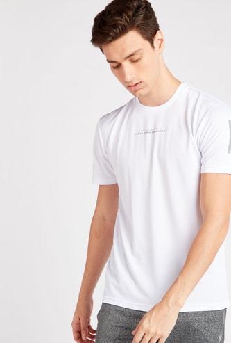 Slogan Print Crew Neck T-shirt with Short Sleeves