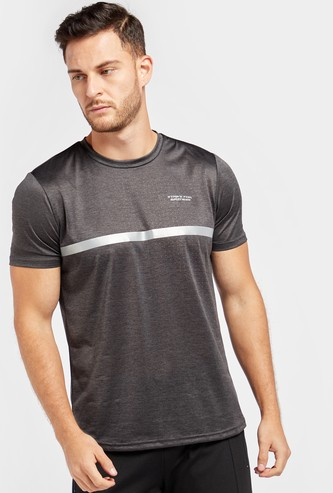 Regular Fit Printed Crew Neck Workout T-shirt with Short Sleeves