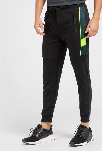 Slim Fit Solid Jog Pants with Side Tape Detail and Drawstring