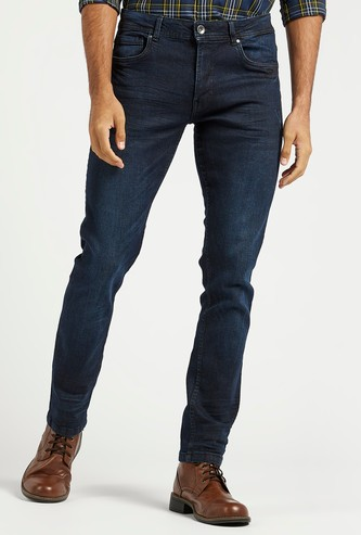Skinny Fit Textured Mid-Rise Jeans with Pockets and Belt Loops