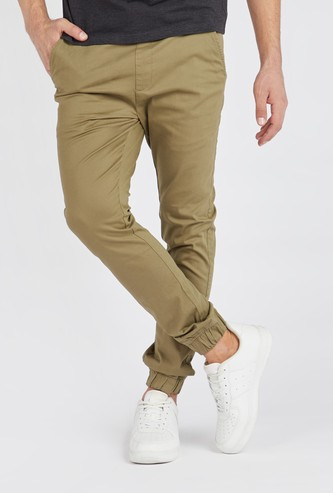 Full Length Solid Mid-Rise Jog Pants with Pocket Detail and Drawstring