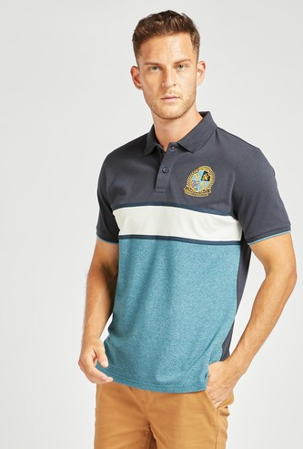 Logo Embroidered Striped Polo T-shirt with Short Sleeves