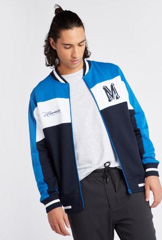 Colourblock Varsity Jacket with Long Sleeves and Zip Closure