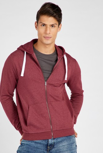 Solid Hoodie with Zip Closure and Long Sleeves