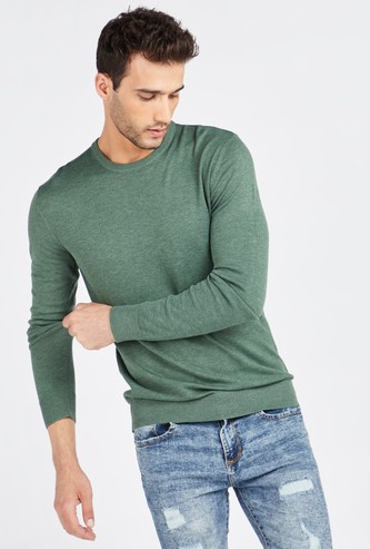 Solid Sweater with Round Neck and Long Sleeves
