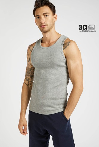 Ribbed Sleeveless Vest with Round Neck