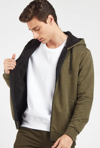 Textured Long Sleeves Hoodie with Zip Closure and Pockets