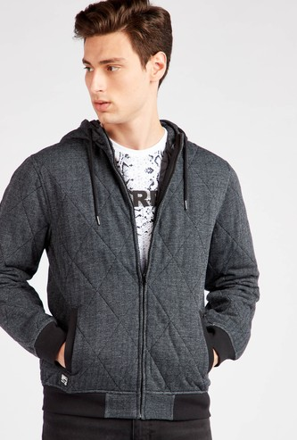 Quilt Stitched Hoodie with Long Sleeves and Pockets