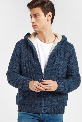 Textured Zipper Sweater with Long Sleeves and Hooded Neck