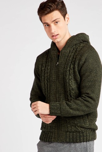 Textured Sweater with Hooded Neck and Zip Closure