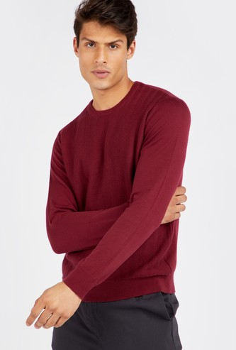 Solid Textured Round Neck Sweater with Long Sleeves