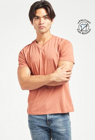 Solid Regular Fit V-neck T-shirt with Short Sleeves