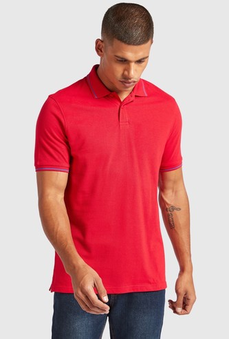 Tipping Detail Polo T-shirt with Side Slits and Jacquard Collar