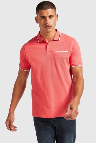 Solid Polo T-shirt with Short Sleeves and Chest Pocket