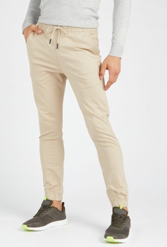 Full Length Solid Mid-Rise Jog Pants with Pockets and Drawstring