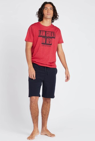 Slogan Print Round Neck T-shirt and Contrast Shorts Set