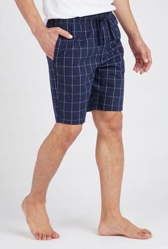 Checked Shorts with Drawstring Closure