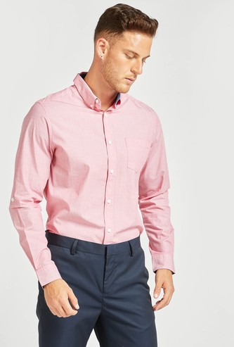 Textured Regular Fit Collared Shirt with Long Sleeves