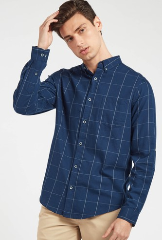 Twill Checked Shirt with Button-Down Collar and Long Sleeves