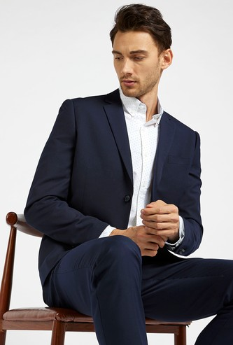 Solid Formal Blazer with Long Sleeves and Notched Lapel