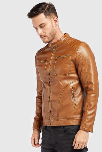 Solid Biker Jacket with Zip Closure and Pockets