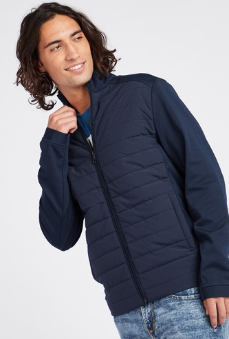 Solid High Neck Parka Jacket with Long Sleeves and Pocket Detail