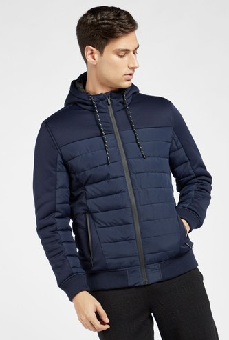Solid Panelled Puffer Jacket with Hood and Long Sleeves