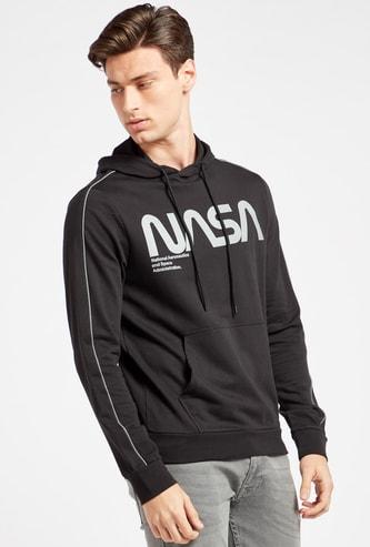 NASA Print Hoodie with Long Sleeves and Kangaroo Pockets