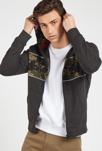 Printed Hoodie Jacket with Pockets and Long Sleeves