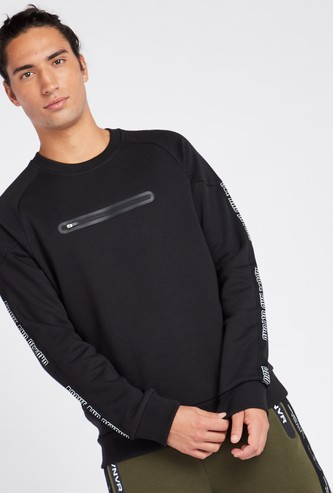 Solid Sweatshirt with Round Neck and Tape Detail Long Sleeves