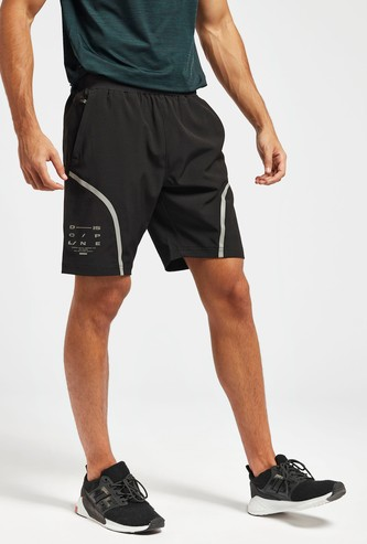 Printed Shorts with Reflective Detail and Pockets