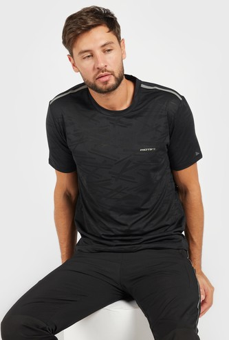 Textured T-shirt with Shoulder Tape Detail and Short Sleeves