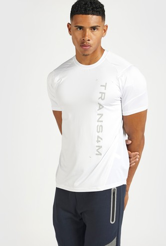 Typographic Print Performance T-shirt with Crew Neck and Short Sleeves