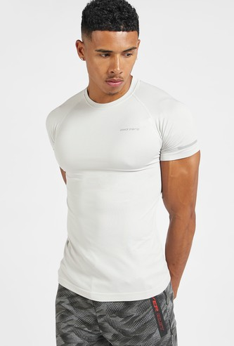 Solid Crew Neck Compression T-shirt with Short Sleeves