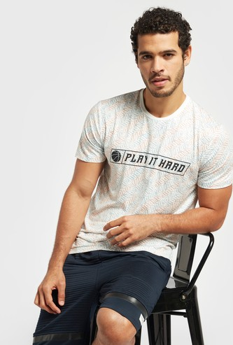 All-Over Print Crew Neck T-shirt with Short Sleeves
