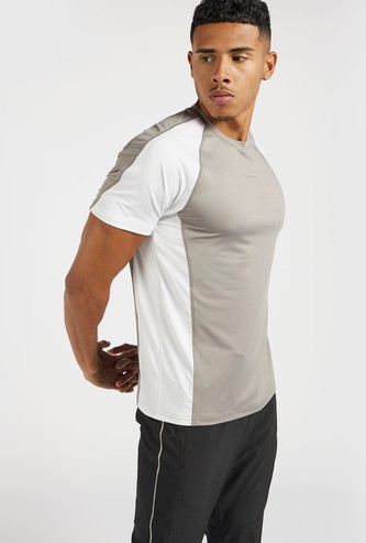 Panelled Crew Neck T-shirt with Short Sleeves
