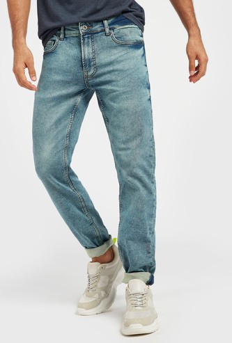 بنطلون جينز سليم طويل بجيوب