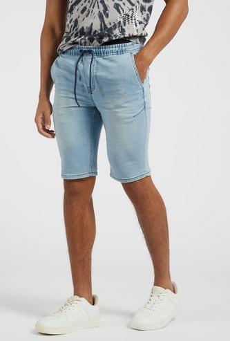 Denim Shorts with Pockets and Drawstring Closure