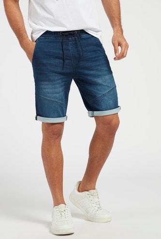 Denim Panelled Shorts with Pockets and Drawstring Closure