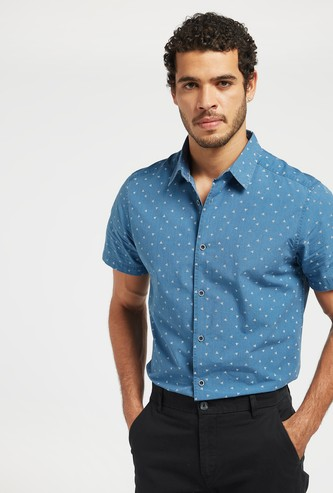 All-Over Print Shirt with Spread Collar and Short Sleeves
