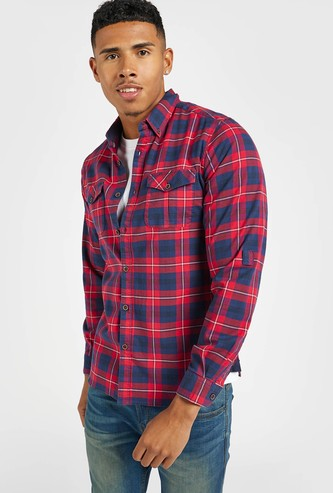 Slim Fit Checked Collared Shirt with Long Sleeves