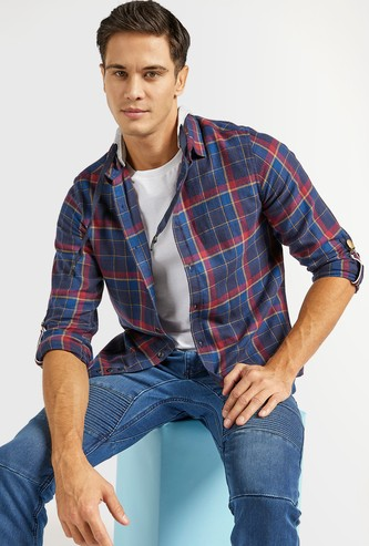 Flannel Plaid Shirt with Removable Hood and Long Sleeves