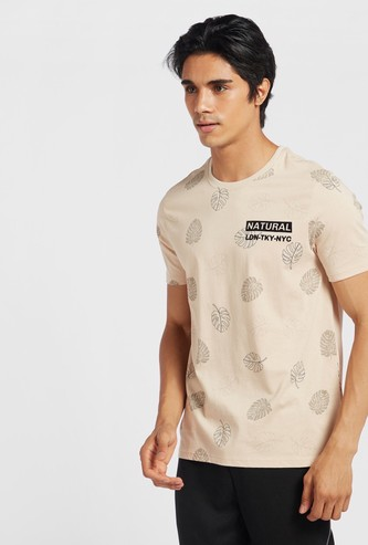 All-Over Leaf Print T-shirt with Round Neck and Short Sleeves