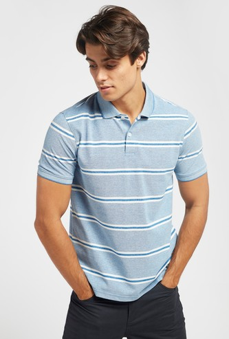 Striped Polo T-shirt with Short Sleeves and Button Closure